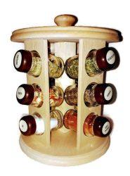 Forgatható fa fűszertartó 12 db fűszerrel